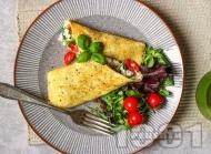 Нисковъглехидратен омлет със сирене котидж, чери домати и босилек